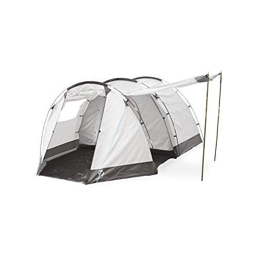 Yukatana Jomida • Zelt • Campingzelt • Tunnelzelt • 4 Personen • 260 x 105 x 410 cm • Polyester • wasserdicht • verstärkter Zeltboden • Glasfaser-Gestänge • Moskitonetze • insektendicht • großer Vorraum • einfacher Aufbau • Stahlheringe • grau