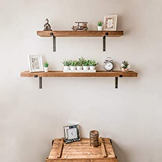 HomeZone® Vintage Rustic Scaffold Board Wall Shelf 100cm Shelves All Fixings & 2 Metal Brackets Included. Heavy Duty Shabby Chic Shelving For Home Storage & Organisation (1, 100cm)