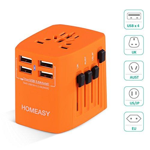 Voyage Adaptateur International HOMEASY avec Fusible de Sécurité et 4 USB (5V 2.4A) pour UE/US /UK /AUS Utilisé dans plus de 150 pays (Orange)