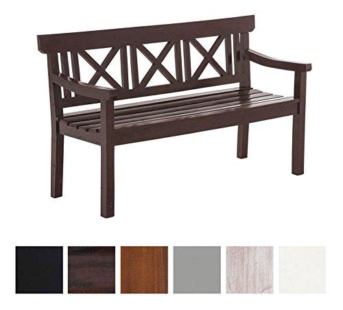 CLP 3er Holzbank MIRELA mit stilvollen Verzierungen | 3er Sitzbank aus Mahagoniholz | In verschiedenen Farben erhältlich Braun