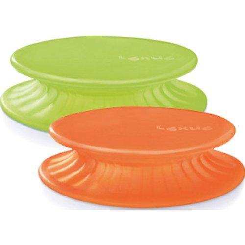 Lku-2-Tapas-extensibles-de-silicona-115-cm-color-verde-y-naranja