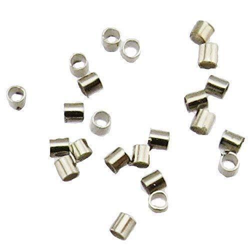 Bacabella 21597 Quetschröhrchen2x2mm Loch 1,8mm antiksilber (100 Stück) Quetschperlen in Röhrchenform zum Fixieren von Perlen auf Draht
