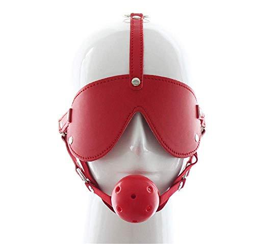 Pavan Maske aus Kunstleder für Kopfbedeckung, Mundball, mit Augenblende, Halloween-Spielzeug rot