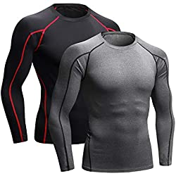 """Niksa 2 Pieces Fitness T-Shirts Compression Sportswear Long Sleeve Men's Running, Exercise, Gym 1059 (Medium (Fit Chest 35.5 """"-37.5""""), (Long Sleeve) Gray Black + Black Red)"""