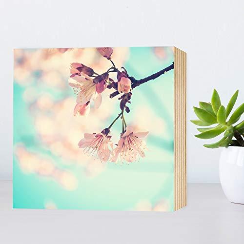 Kirschblüte - schönes Holzbild 15x15x2cm echter Foto-Druck auf Holz - Wandbild Holzschild Holzdeko Dekoration Geschenk-Idee Poster Kunstdruck Aufsteller Home Deko - rosa ()
