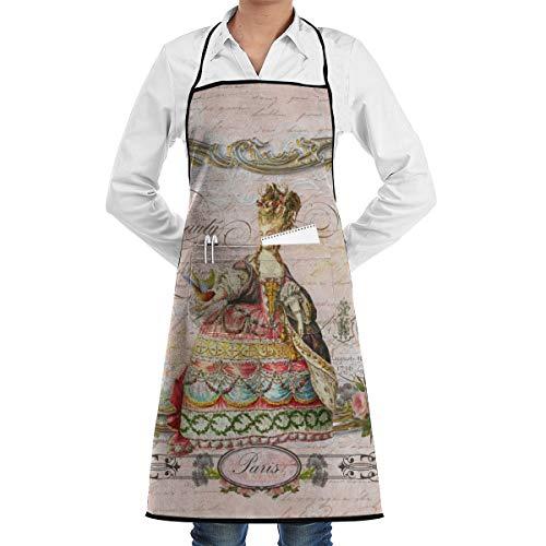 Ameok-Design Marie Antoinette Paris and Pink Roses Unisex Küchenschürze verstellbar mit Taschen zum Kochen, Backen, Basteln, Gartenarbeit und Grillen (Marie Antoinettes Garten)