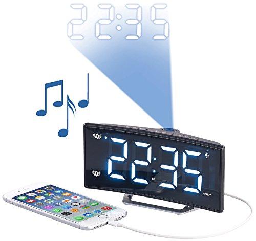 auvisio Dual-Alarm-Radio-Wecker: Projektions-Radiowecker mit Curved-Display, Dual-Alarm &...