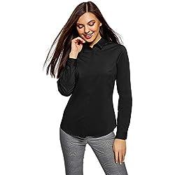 oodji Ultra Mujer Camisa Básica Entallada, Negro, ES 44 / XL