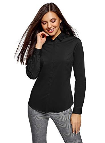 oodji Ultra Mujer Camisa Básica Entallada, Negro, ES 40 / M