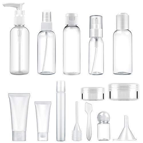MYLL 14 Pezz Bottigliette da viaggio (max.100ml) Set Aereo | Contenitori da Viaggio per Cosmetici - Kit Liquidi Flaconi Accessori da viaggio per Shampoo / Lozioni / Creme (Trasparente)