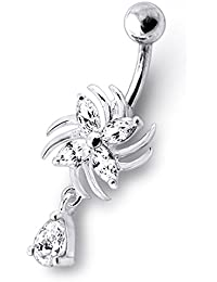 Piercing India Clear CZ Stone Swirling Flower Dangling Design 925 Sterling Silver Belly Ring Body Jewelry