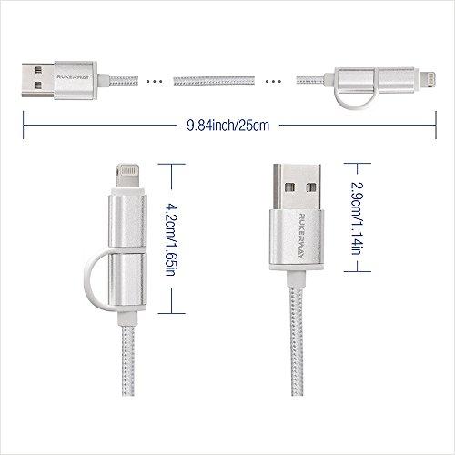 rukerway Cable USB de 25cm nailon trenzado 4Pack 2 in 1a rápida transmisión de datos y cable Lightning Cable Mini USB para iPhone Android Smartphone Samsung  Estación de carga y usb hub (Plata)