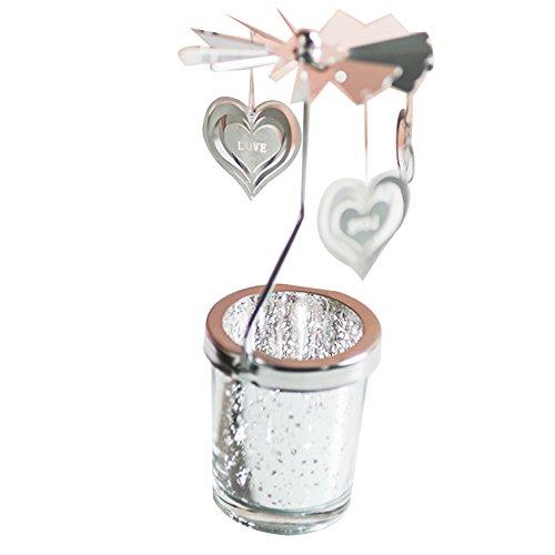 Naisicatar portacandele in vetro supporto porte-bougie portacandele rotante a forma di cuore rotatifs portacandela candela chauffe-plat carousel candeliere home decor per natale casa matrimonio # cuore # x 1
