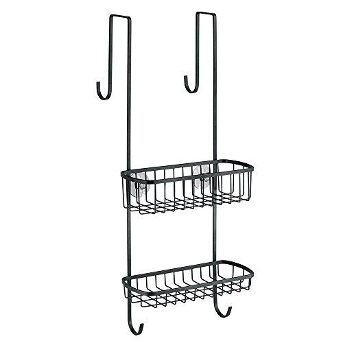 InterDesign Gia Over-Door Shower Caddy, Hanging Bathroom Shelves, Made of Metal, Matte Black
