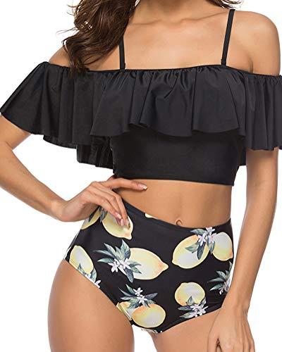ZIXINGA Bequemer Laden Damen Bikini Set High Waist Bademode Zweiteilige Strandkleidung Badeanzug mit Volant Neckholder Bikini Oberteil und Bikinihose,Farbe Orange,S