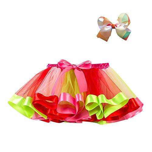 WOZOW Tüllrock Kleinkind Bunt Regenbogen Bowknot Haarspange Multi-Schichten Festliche Tanzkleid Halloween Weihnachten Fasching Mädchen Röckchen