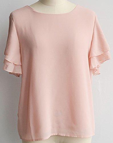 erdbeerloft Damen Fashion Casual T Shirt Bluse, V Ausschnitt hinten, 3442, Viele  Farben Apricot