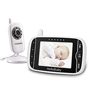 HelloBaby HB32 Wireless Video Baby Monitor with Digital Camera, 3.2 Inch Screen Night Vision Temperature Monitoring & 2 Way Talkback System UK Interface Plug, White BT 5 inch screen Temperature indication / 5 lullabies Remote control pan and tilt mechanism 8