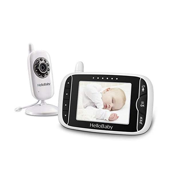 HelloBaby HB32 Wireless Video Baby Monitor with Digital Camera, 3.2 Inch Screen Night Vision Temperature Monitoring & 2 Way Talkback System UK Interface Plug, White HELLO BABY 1. High resolution 3.2 inch digital color LCD screen; enhanced 2.4GHz wireless technology - 100% private connection and prevent signal drop outs 2. The video baby monitor offer high definition and stable audio video streaming with high performance automatically infrared night vision 3. VOX mode makes baby monitor intelligent, sound in transmitter side activate the monitor automatically, and makes life better 1