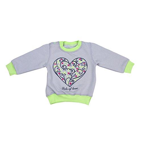 Baby Sweatshirt mit Aufdruck Jungen Baby-Shirt Mädchen Pullover Langarmshirt Herbst Winter Warm, Farbe: Grau Herz, Größe: 80