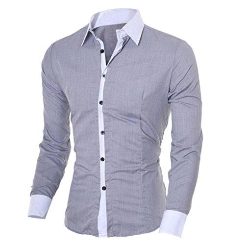 Männer Hemden VENMO Mode Persönlichkeit Bluse Männer Casual Shirt Schlankes Langarmshirt (XL, Gray) (Plain-kragen-shirt)
