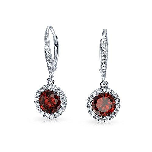 Diesem Rote Runde Solitär Halo CZ Baumeln Ohrringe Leverback Für Damen Simulierten Ruby Zirkonia 925 Sterling Silber