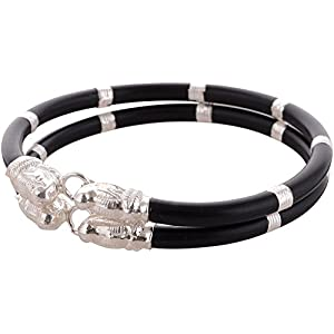 Oddrush Black Rubber With Sterling Silver Cuff And Kadaa For Children