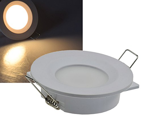 LED Einbauleuchte 5W I Einbaustrahler mit IP44 I LED Spot 230V weiß Kunststoff Ø68mm EB-Loch I rund 2900K warmweiß