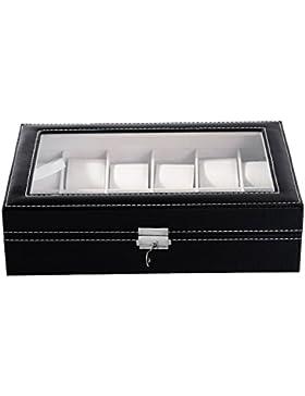 HooAMI Hochwertiger Uhrenkoffer Uhrenbox Uhrenkasten Schaukästen Leder Für 12 Uhren mit Schnalle mit Glasfenster