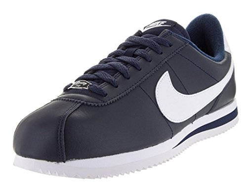 Nike Mens Cortez Basic Leather Trainers OBSIDIAN/METALLIC SILVER//WHITE