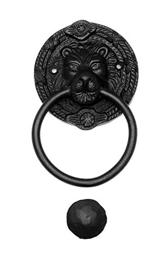 Türklopfer antik, Löwenkopf klein rund, handgefertigt aus Eisen, schwarz | EW015