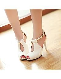 KPHY-Sandalias Viajeros Vaciado Tacones Tacones Altos T Roma Boca De Pescado Zapatos Zapatos De Mujer Rough HeelsTreinta...