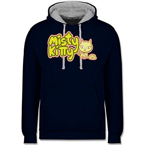 Katzen - Misty Kitty - Kontrast Hoodie Dunkelblau/Grau meliert