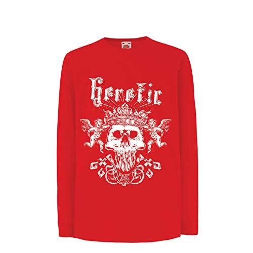 lepni.me Kinder-T-Shirt mit Langen Ärmeln Heretic King Skull - Krone des Ruhmes, Skelett Gesicht (9-11 Years Rot