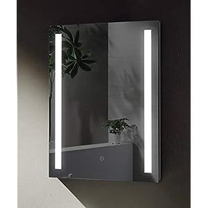 SGSpiegel Badspiegel mit seitlicher LED Beleuchtung, Badezimmerspiegel 60x80cm, Lichtfarbe Weiß, Energieklasse A+