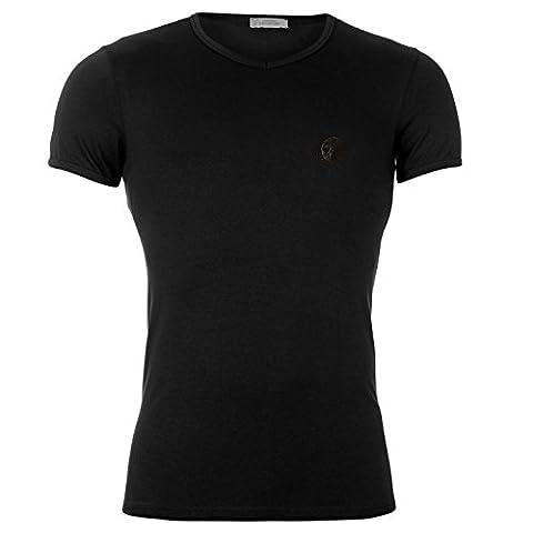 VERSACE COLLECTION Versace Herren Kurzarm V-Ausschnitt T-Shirt Top Shirt Schwarz XXL