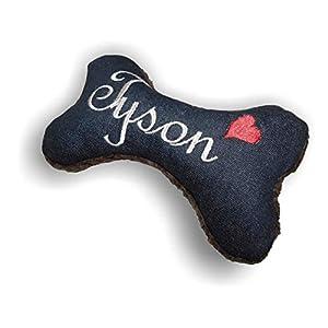 Hunde Spielzeug XXS XS S M L XL XXL Kissen Knochen Hundeknochen mit oder ohne Quietscher/Rassel schwarz Jeans bestickt…