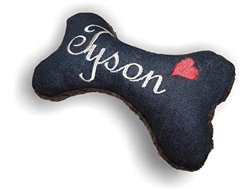 Hunde Spielzeug XXS XS S M L XL XXL Kissen Knochen Hundeknochen mit oder ohne Quietscher/Rassel schwarz Jeans bestickt Name Wunschname Hundekissen personalisiert Geschenk Hundespielzeug -