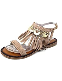 Amazon.it  scarpe con frange - Beige   Sandali   Scarpe da donna ... 2de23ad441a