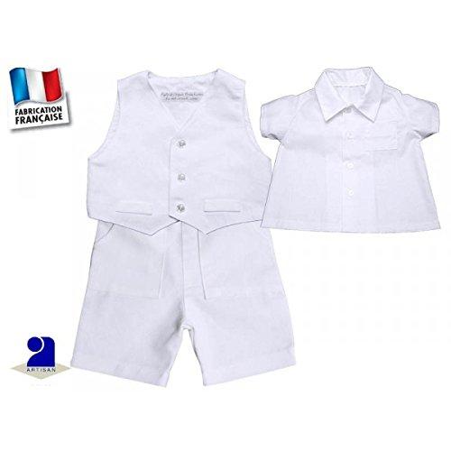 Poussin bleu - Tenue baptême garçon, Costume bermuda en lin blanc Taille - 74 cm 12 mois , Couleur - Blanc