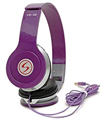 Signature Brand High Quality VM-46 Stereo BassSolo Headphonesfor Iphone,Samsung,Redmi and all other smartphones ( Purple Colour)