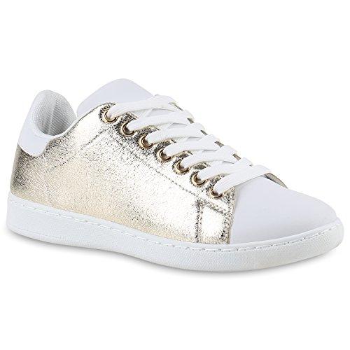 Damen Sneakers | Sneaker Low Metallic Cap | Sportschuhe Leder-Optik Glitzer | Freizeit Schnürer Prints Samt | Trainers Allyear Gold Carlet