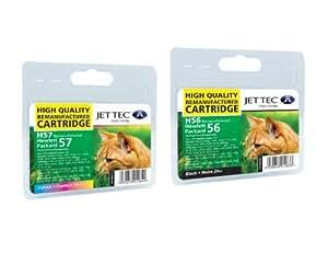 2 Cartouches d'encre Compatibles pour Imprimante HP PSC 1315 Noir et Tri-Colour