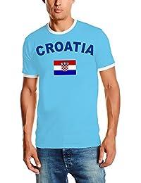 WM 2018 Kroatien T-SHIRT mit Deinem NAMEN + NUMMER ! Fußball Trikot Ringer Kroatien Sky S M L XL XXL