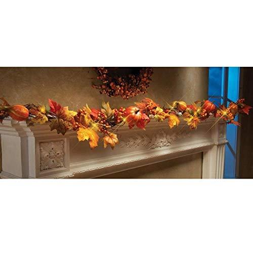 WDDqzf ornament Dekoration Statuen 1,8 M Led Beleuchtet Herbst Herbst Kürbis Ahorn Blätter Garland Thanksgiving Decor -