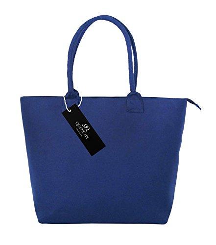 Borse per la spesa in tela,borse ideali per la spiaggia, borsa a tracolla per vacanza, stile shopping, 17stampa floreale per estate, design grazioso, a pois, da parete fiore, tinta unita, colore: bl Navy Blue Denim