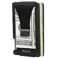 Metal Aluminum Minimalist Wallet - AhfuLife® Money Clip Slim Wallet Business Credit Card Holder - Front Pocket RFID Blocking Wallets Billfolds for Men and Women (Black)