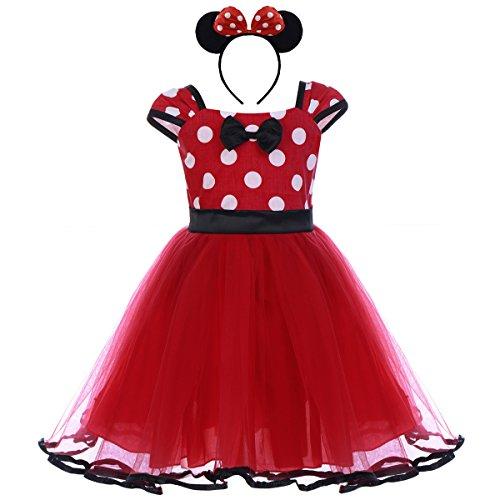 Vestiti carnevale per bambina fiore ragazze abiti vestito costume principessa balletto tutu danza body minnie polka dot rosso (b) 3-4 anni