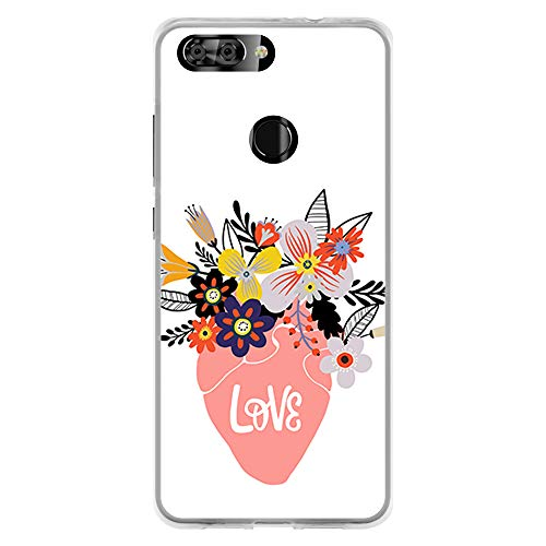 BJJ SHOP Transparent case for [ ZTE Blade V9 ], TPU flexible silicone  shell, design: Flower pot with flowers, love