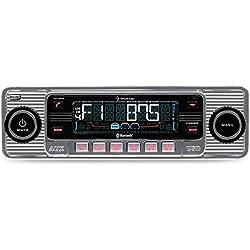 auna TCX-1-RMD - Radio para coche (elegante radio retro, Bluetooth, MP3, WMA, AM, FM, LCD, MMC, SD, radio AM/FM 18 memorias FM y 6 memorias AM, CD, CD-R, CD-RW, LCD) - plata